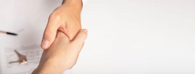 Hands in a handshake