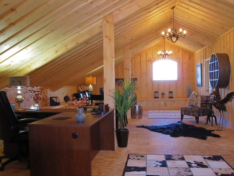 West Wind Realty office interior loft with exposed beams